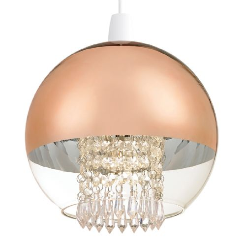 NON ELEC PENDANT IN ELECTROPLATED COPPER AND CLEAR GLASS WITH ACRYLIC DROPS NE-BOSTON-CO